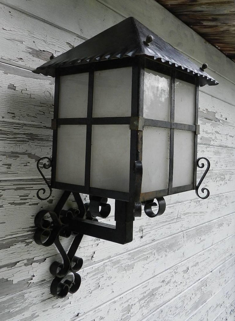 French Lantern Wall Light Outdoor Sconce Wrought Iron And Glass Exterior Porch At 1stdibs