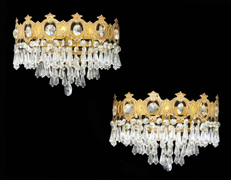Faceted Glass Vanity Light: Pair Of Wall Lights Sconces Three-Tiered Half Crown