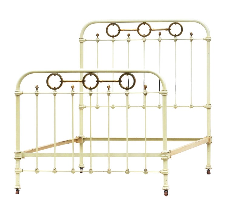 Late Victorian Antique French Brass and Iron Bed with Original Paint, circa 1890 For Sale