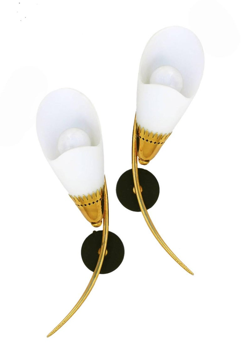 20th Century Pair of Maison Arlus Wall Lights Sconces Applique French Midcentury For Sale