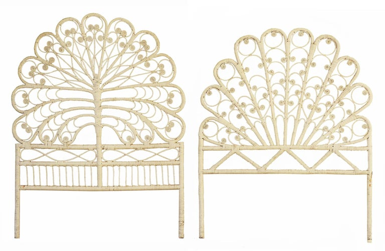 Painted Midcentury Headboard Rattan, circa 1960-70   For Sale