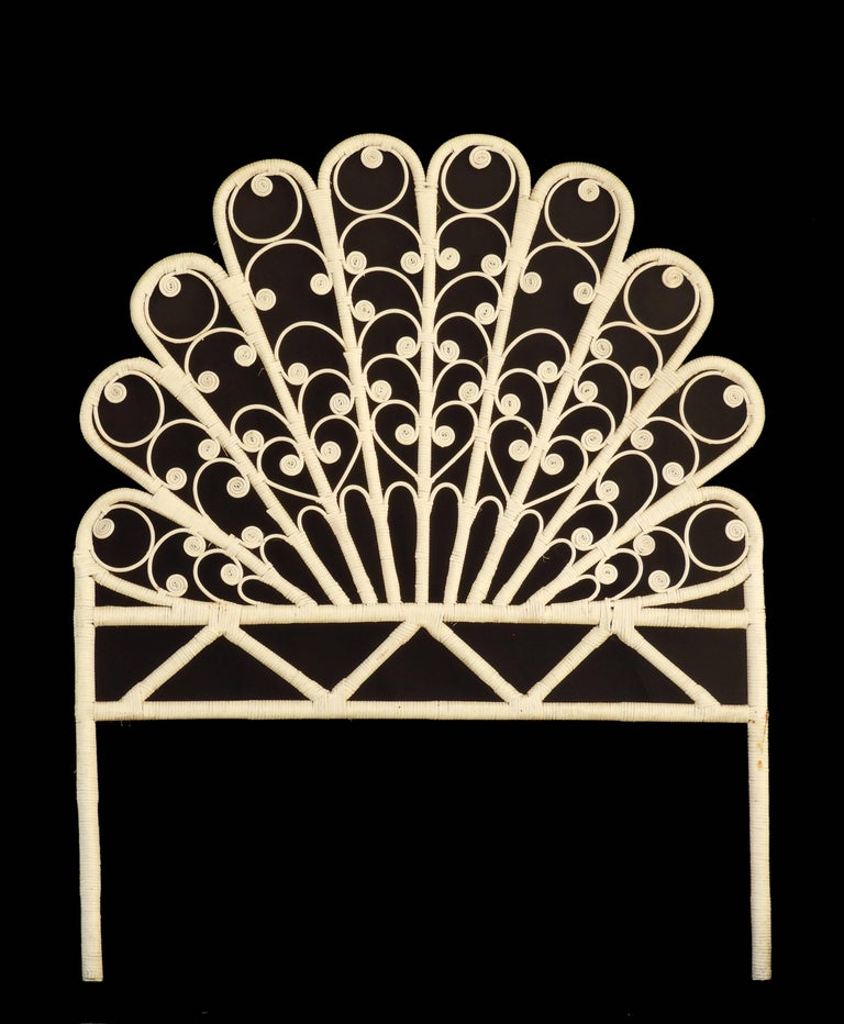 Mid-Century Rattan Headboard c1960-70 Vintage Peacock Tail 39inches wide There are two available listed separately which would make a Harlequin King or Twins Original finish white painted Rattan  We are listing 2 of these separately that are very