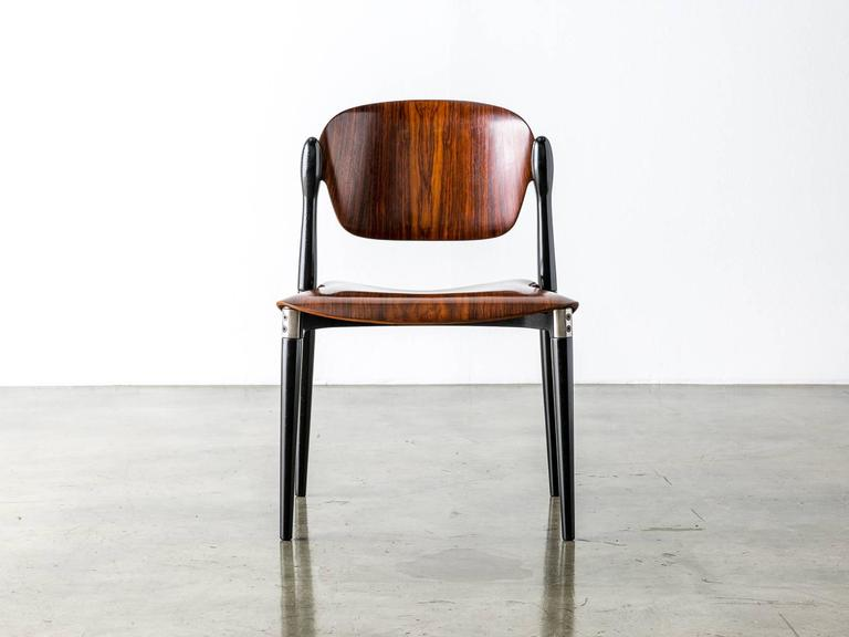 """Rosewood and Black Lacquered """"S83"""" Side Chair by Eugenio Gerli for Tecno, 1962 3"""