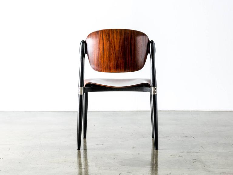 """Rosewood and Black Lacquered """"S83"""" Side Chair by Eugenio Gerli for Tecno, 1962 4"""