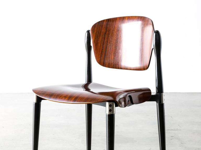 """Rosewood and Black Lacquered """"S83"""" Side Chair by Eugenio Gerli for Tecno, 1962 5"""