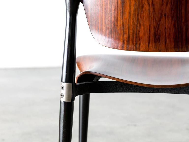 """Rosewood and Black Lacquered """"S83"""" Side Chair by Eugenio Gerli for Tecno, 1962 6"""