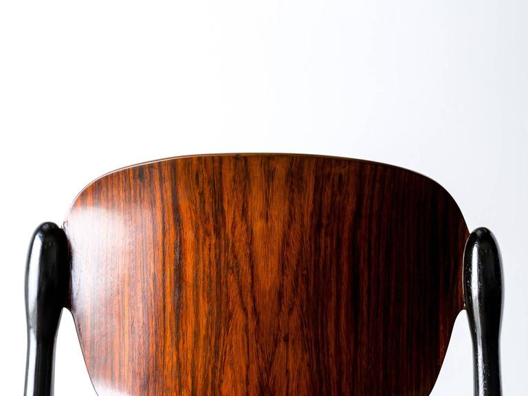 """Rosewood and Black Lacquered """"S83"""" Side Chair by Eugenio Gerli for Tecno, 1962 8"""
