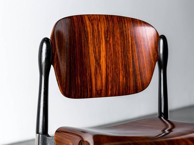 """Rosewood and Black Lacquered """"S83"""" Side Chair by Eugenio Gerli for Tecno, 1962 9"""