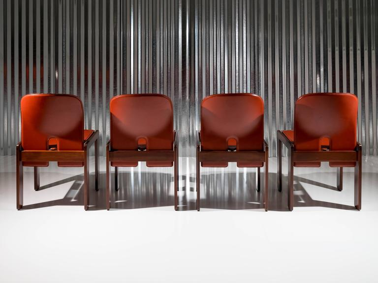 "Set of 4 Walnut & Leather ""121"" Chairs by Afra & Tobia Scarpa for Cassina, 1965 3"