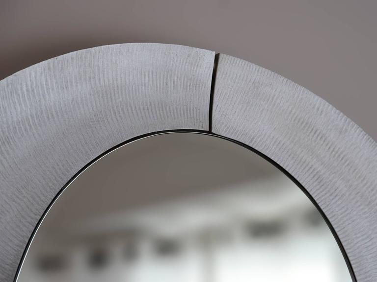 Modern Large Etched Circular Aluminium Mirror by Lorenzo Burchiellaro, 1970 For Sale