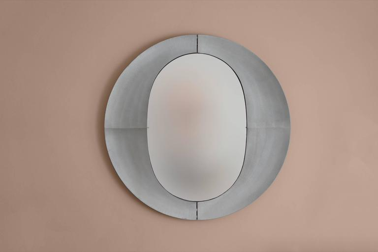 Patinated Large Etched Circular Aluminium Mirror by Lorenzo Burchiellaro, 1970 For Sale