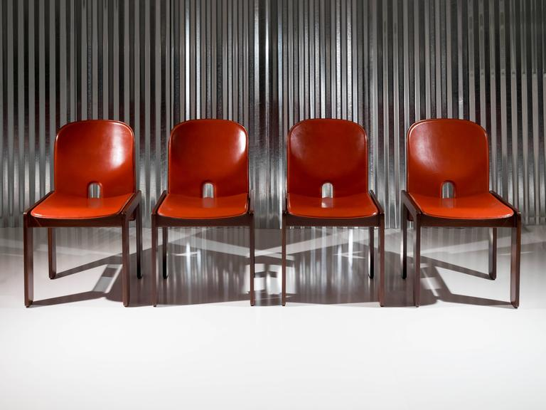 "Set of 4 Walnut & Leather ""121"" Chairs by Afra & Tobia Scarpa for Cassina, 1965 2"