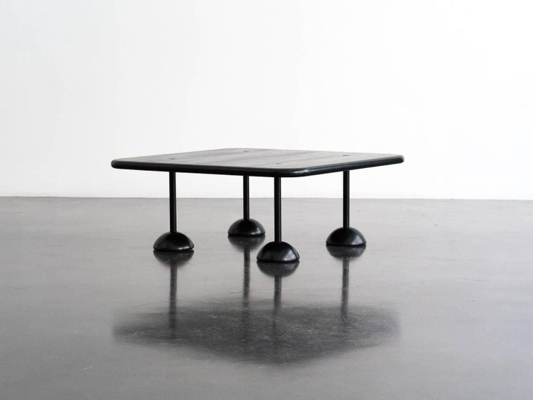A unique low table designed by Franco Poli for Bernini in 1980. The square