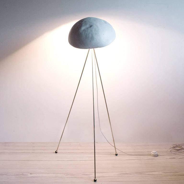 Funny Buddy Floor Lamp with Concrete Noggin and Brass Tripod Legs 1