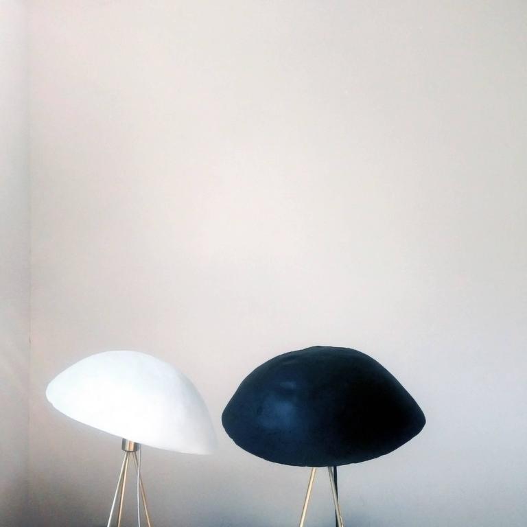 Contemporary Funny Buddy Floor Lamp with Concrete Noggin and Brass Tripod Legs