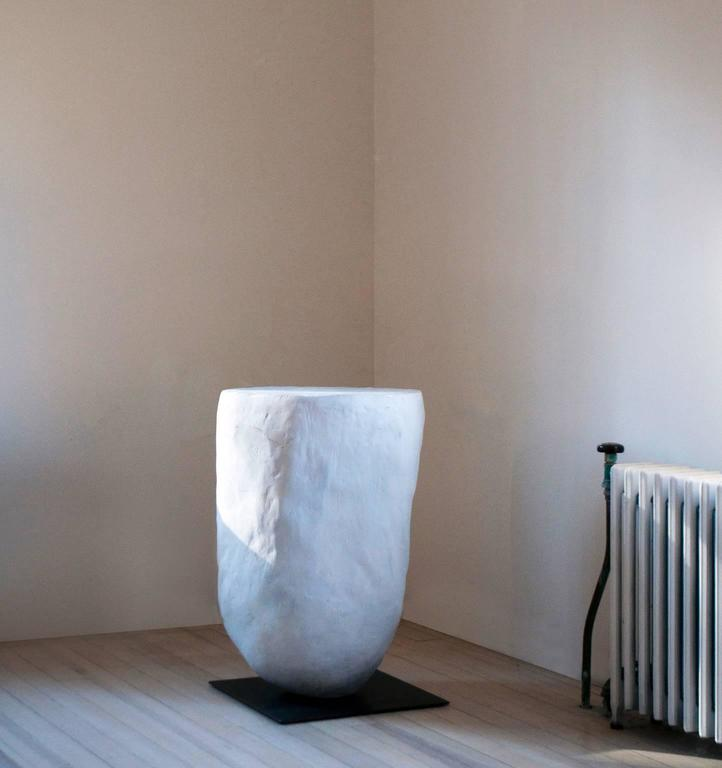 Contemporary Aiko Side Table of Sculpted Concrete and Blackened Steel For Sale