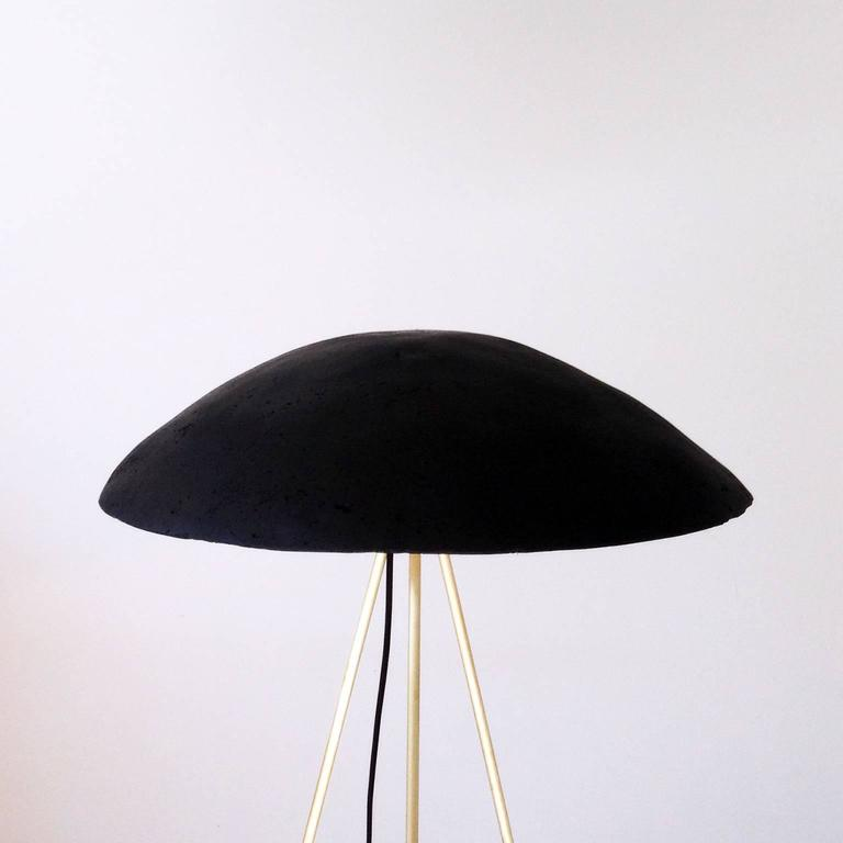 American Tall Buddy Floor Lamp with Concrete Noggin and Brass Tripod Legs For Sale