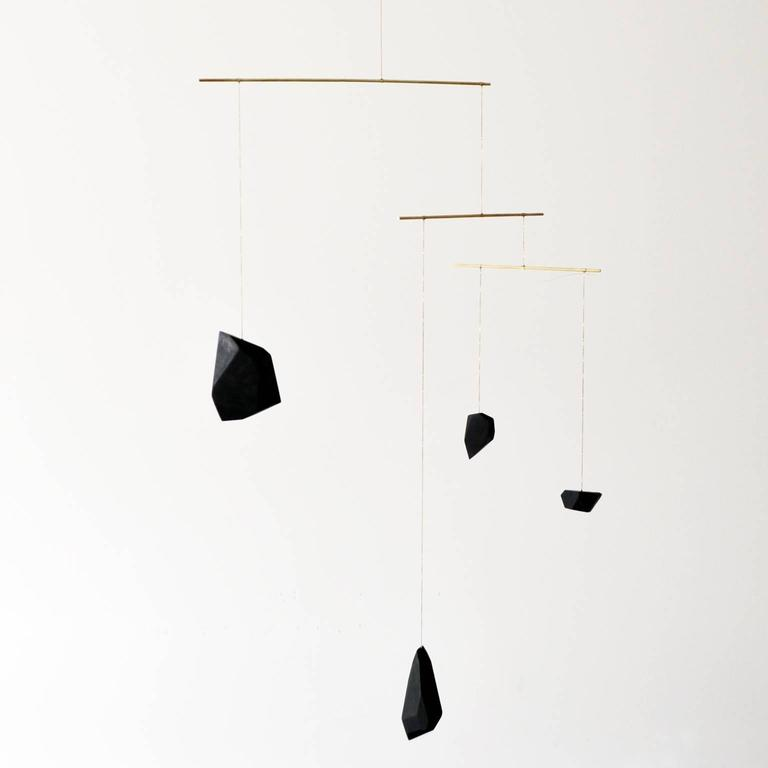 Contemporary Large Mobile from Faceted Walnut Wood Blocks and Brass For Sale