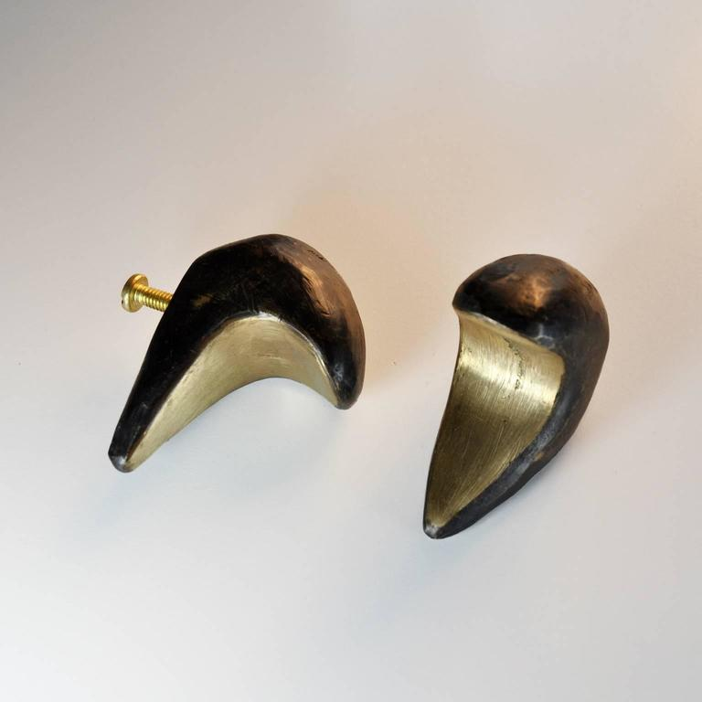 American Modern Blackened Dickon Solid Brass Drawer Pull Hardware For Sale