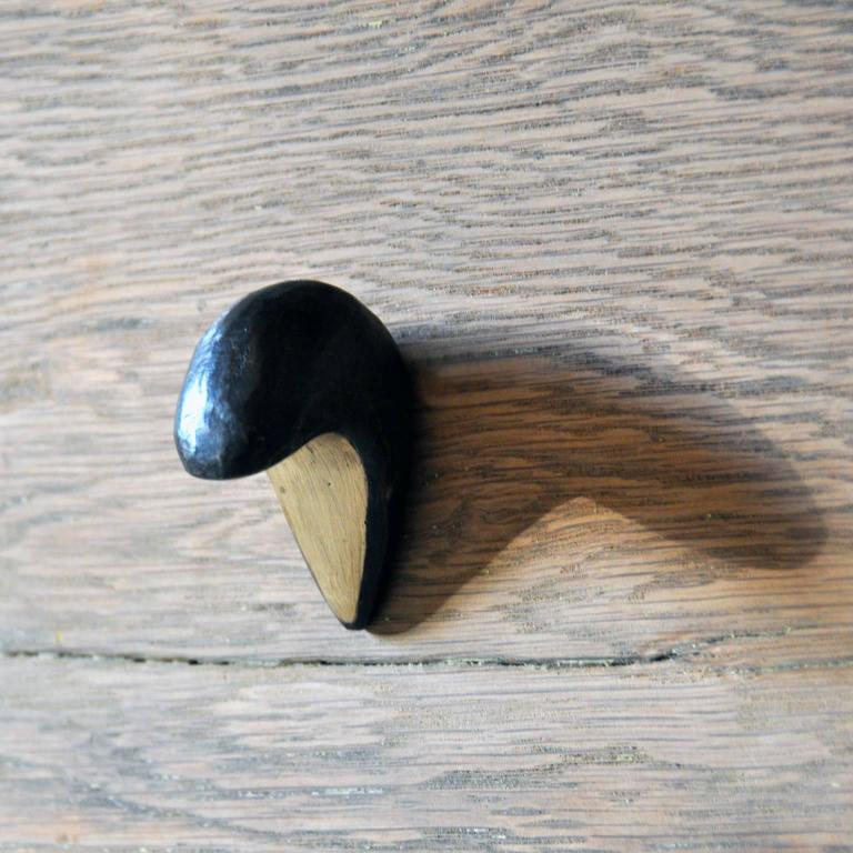 Blackened Dickon Solid Brass Drawer Pull Hardware For Sale 2