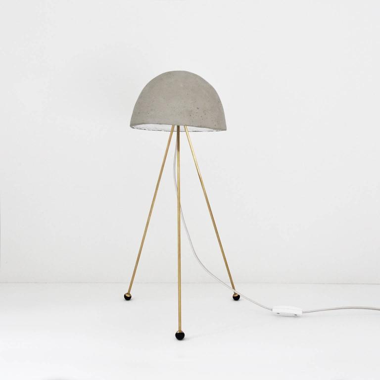Mini Buddy Desk Lamp with Gypsum Noggin and Brass Tripod Legs In New Condition For Sale In Portland, OR