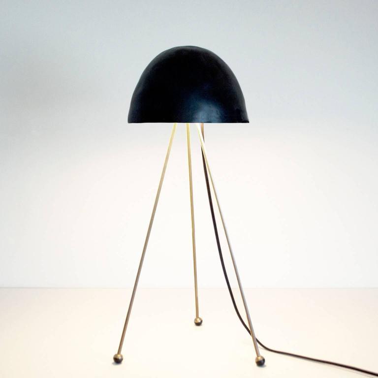 Contemporary Mini Buddy Desk Lamp with Gypsum Noggin and Brass Tripod Legs For Sale