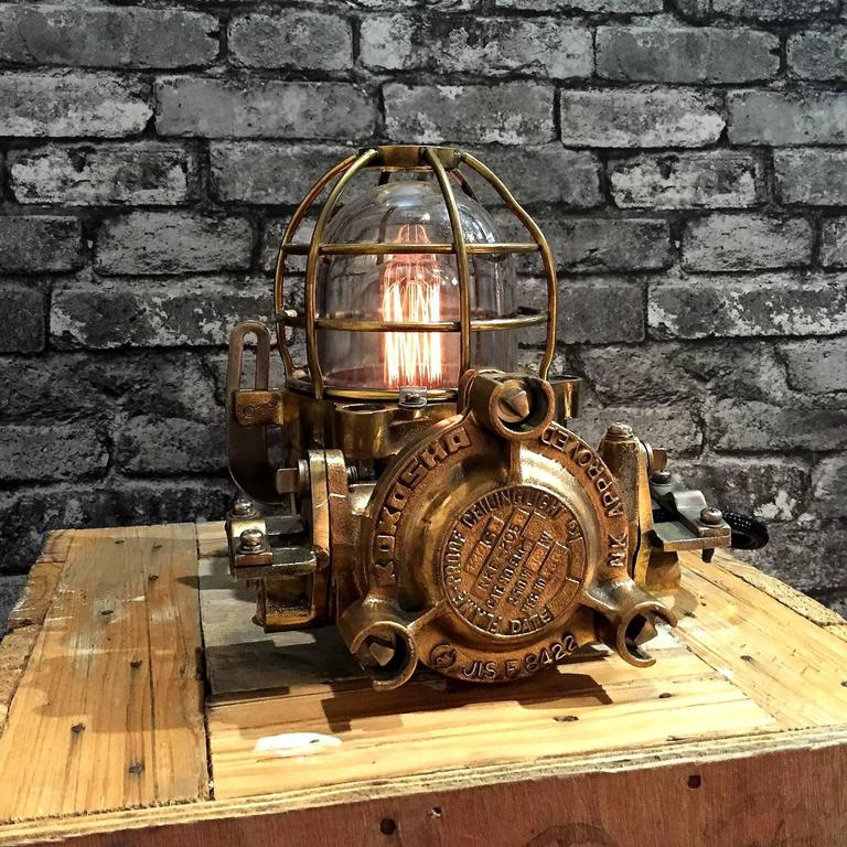 Cast 20th Century Bronze Industrial Flame Proof Ceiling Light Converted to Desk Lamp For Sale