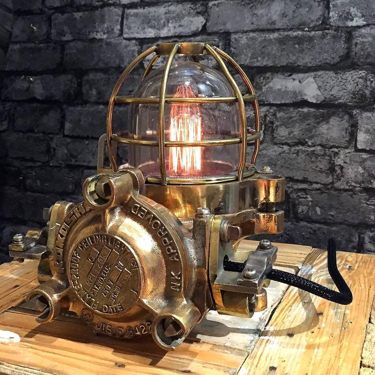 19th Century 20th Century Bronze Industrial Flame Proof Ceiling Light Converted to Desk Lamp For Sale