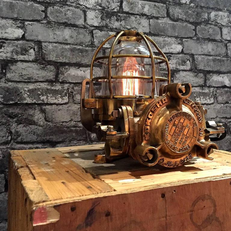 20th Century Bronze Industrial Flame Proof Ceiling Light Converted to Desk Lamp For Sale 2