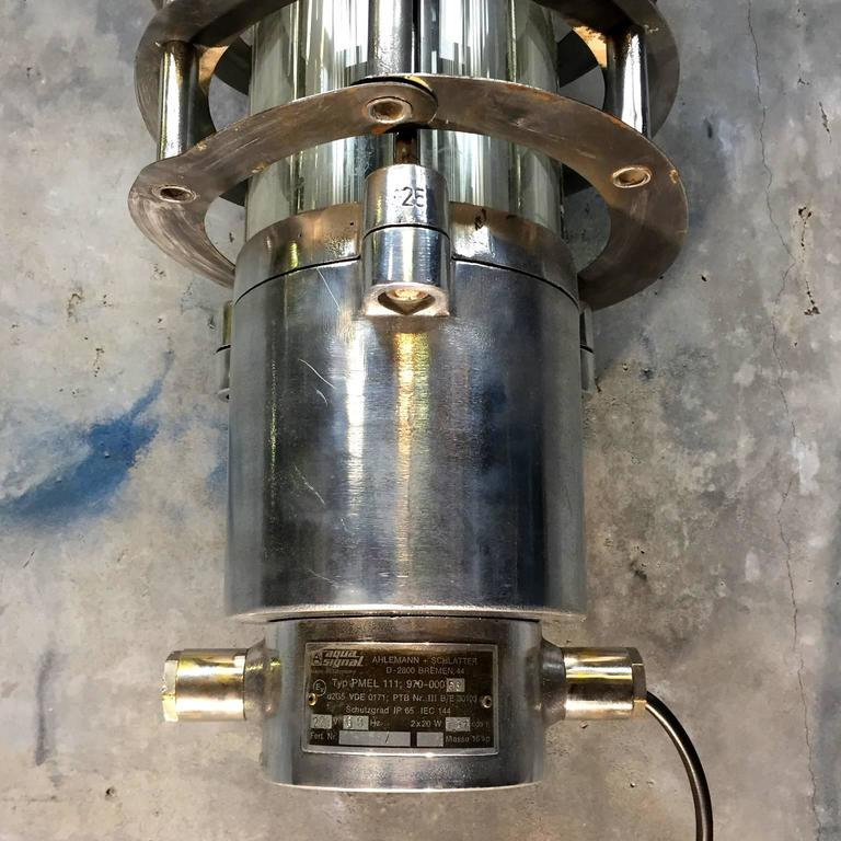 Late Century Industrial Wall Mounted Striplight- Cage, Glass Cylinder, Led Tubes In Good Condition For Sale In Leicester, Leicestershire