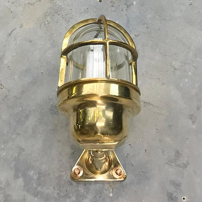 Late Century Industrial Brass 90deg Wall Light, Glass Dome and Cage, Edison Bulb For Sale at 1stdibs