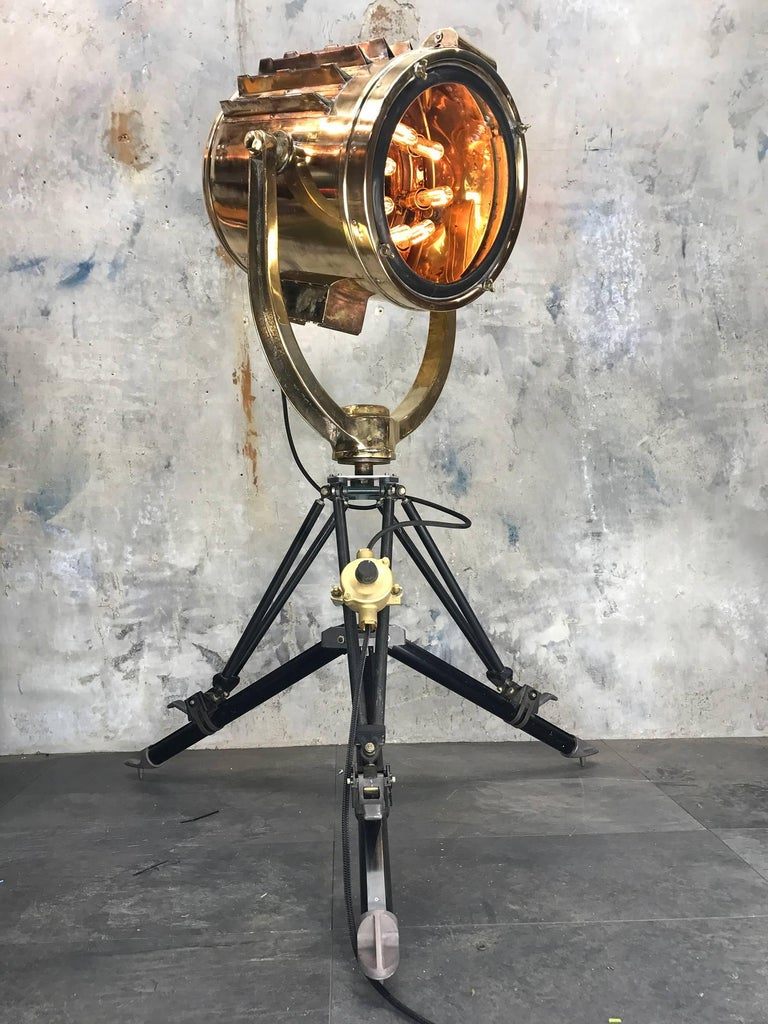 1977 Japanese Brass Searchlight And Black Military Tripod