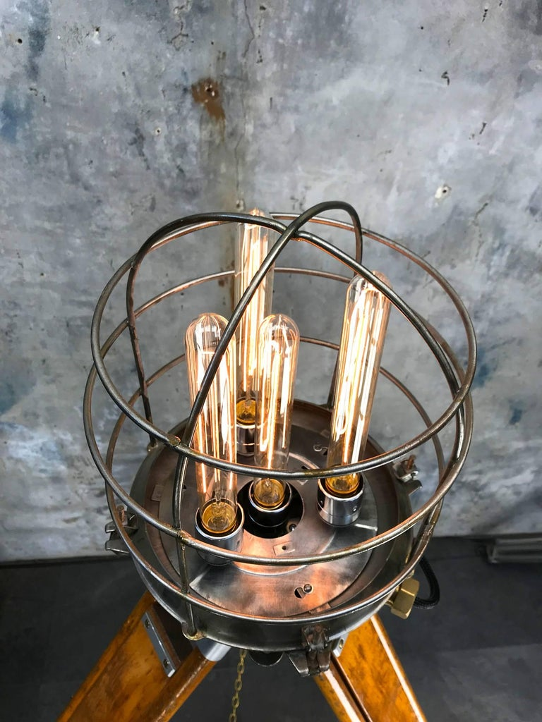 Late 20th Century 1970s Russian Steampunk Vintage Industrial Steel Edison Lamp & Hardwood Tripod For Sale