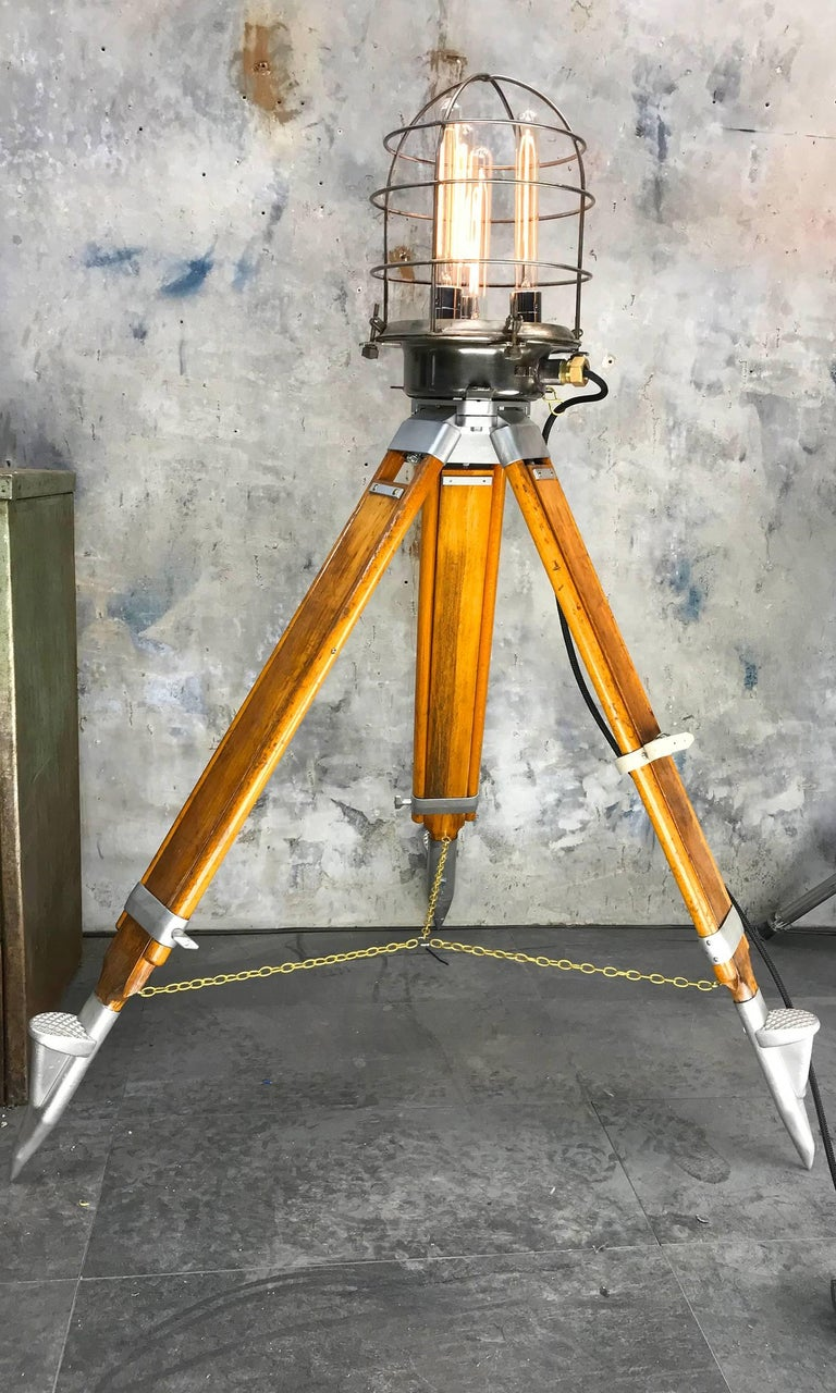 Aluminum 1970s Russian Steampunk Vintage Industrial Steel Edison Lamp & Hardwood Tripod For Sale