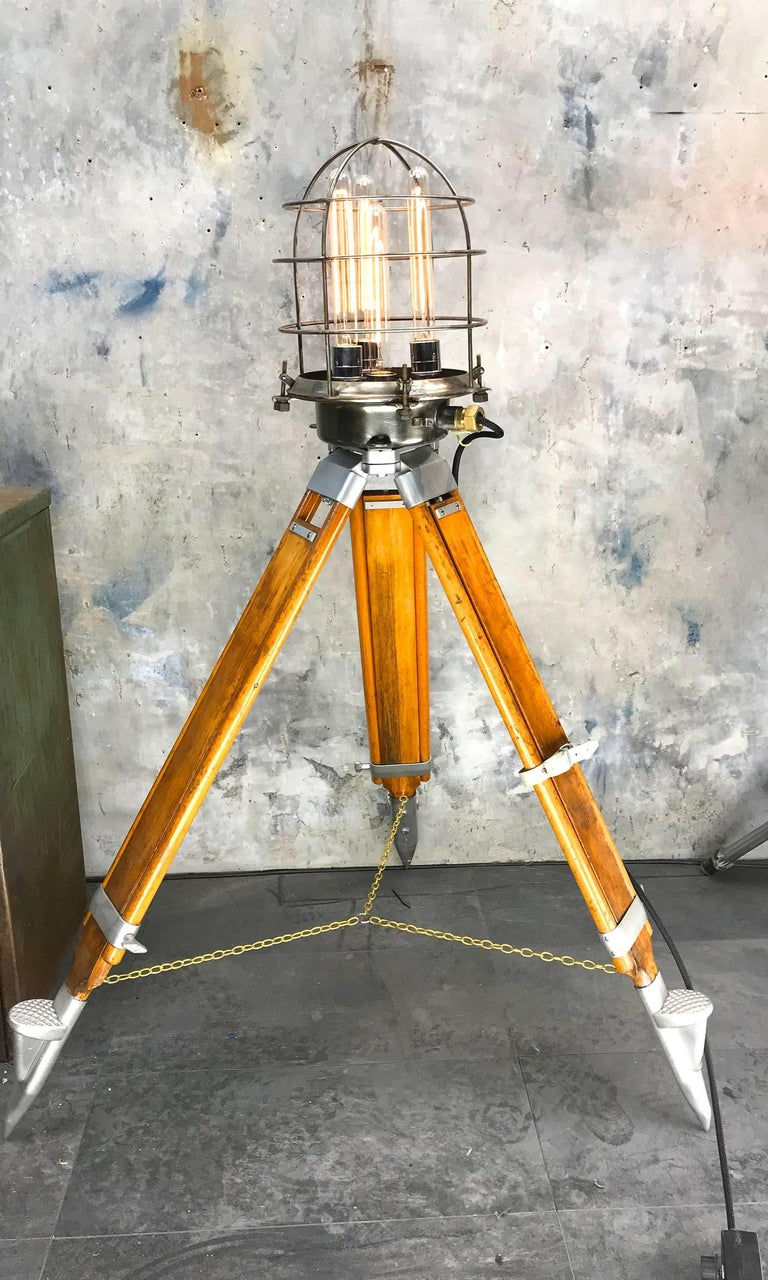 1970s Russian Steampunk Vintage Industrial Steel Edison Lamp & Hardwood Tripod For Sale 1