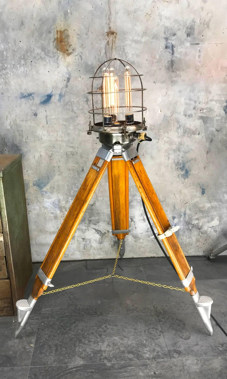 1970s Russian Steampunk Vintage Industrial Steel Edison Lamp & Hardwood Tripod For Sale 2