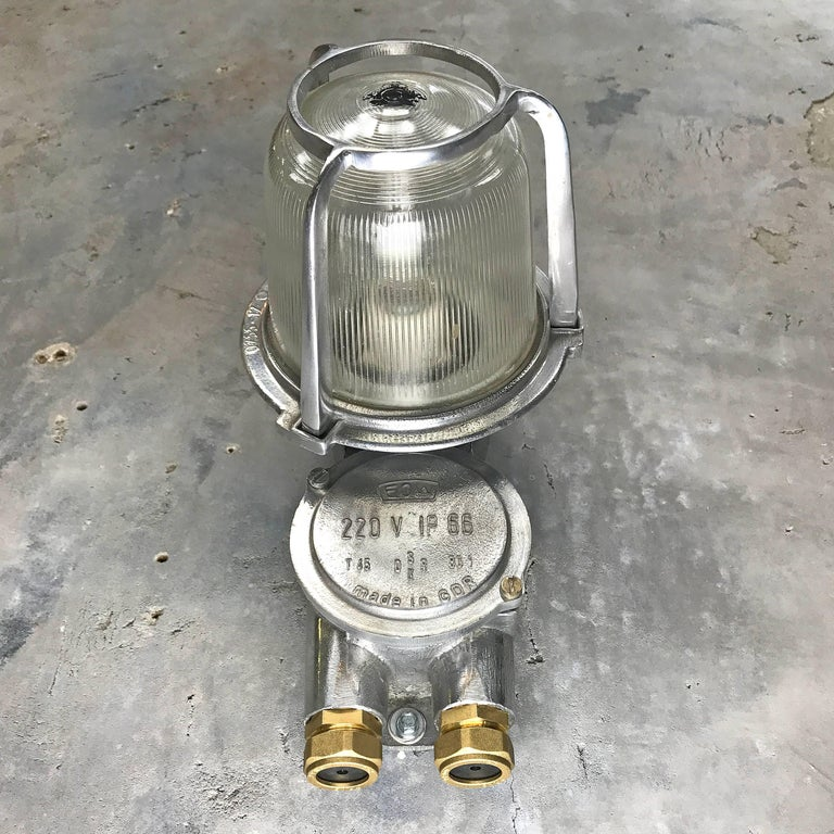 1970s East German Eow Aluminium Industrial Wall Light with Diffuser Glass Dome For Sale at 1stdibs