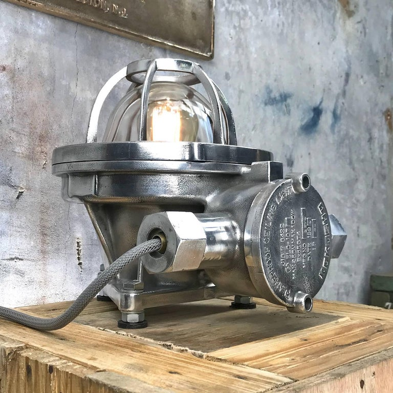 Late Century Japanese Cast Aluminium Industrial Flameproof Table Lamp, Edison 8