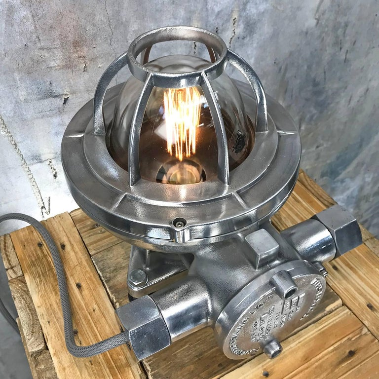 Late Century Japanese Cast Aluminium Industrial Flameproof Table Lamp, Edison 3