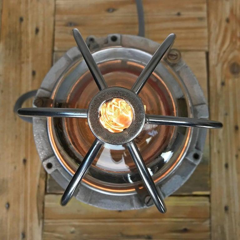 Contemporary Nos Italian Cast Aluminium Explosion Proof Table Lamp Chrome Cage & Edison Bulb For Sale