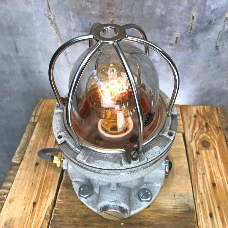 Nos Italian Cast Aluminium Explosion Proof Table Lamp Chrome Cage & Edison Bulb In Excellent Condition For Sale In Leicester, GB