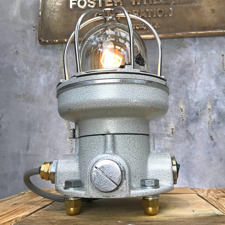 Italian explosion proof desk lamp conversion.  Made by Cortem a manufacturer of explosion proof electrical equipment these light were specifically designed to light hazardous areas using light sources close to the operator and to the