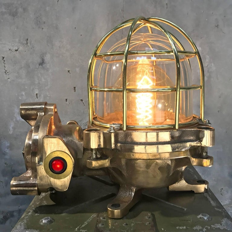 Late Century Japanese Cast Bronze Industrial Flameproof Table Lamp, Brass Cage For Sale 6