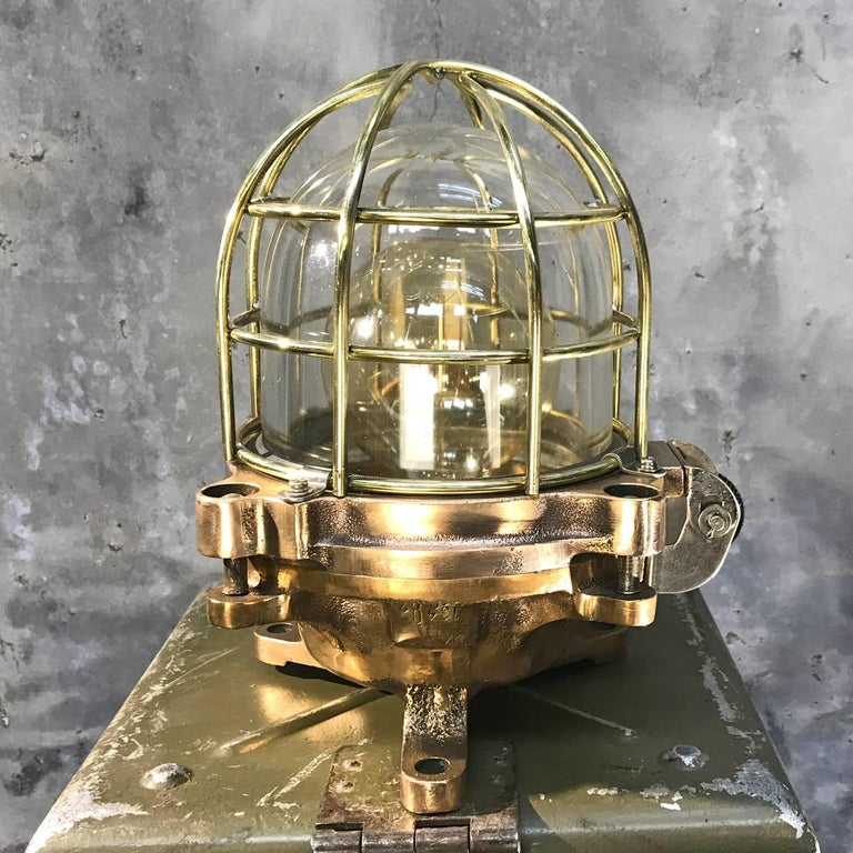 Late Century Japanese Cast Bronze Industrial Flameproof Table Lamp, Brass Cage For Sale 3