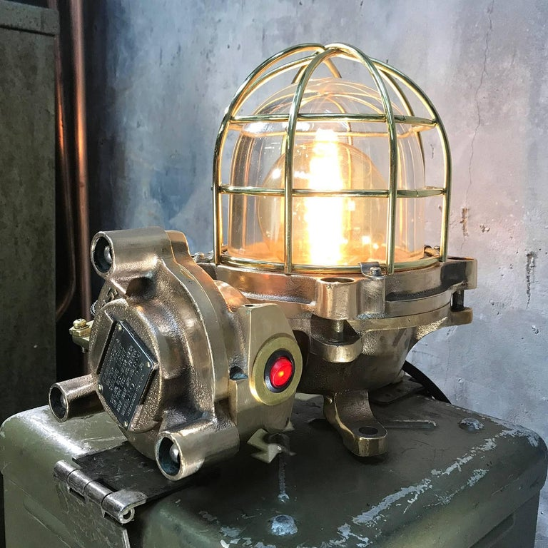 Late Century Japanese Cast Bronze Industrial Flameproof Table Lamp, Brass Cage For Sale 5