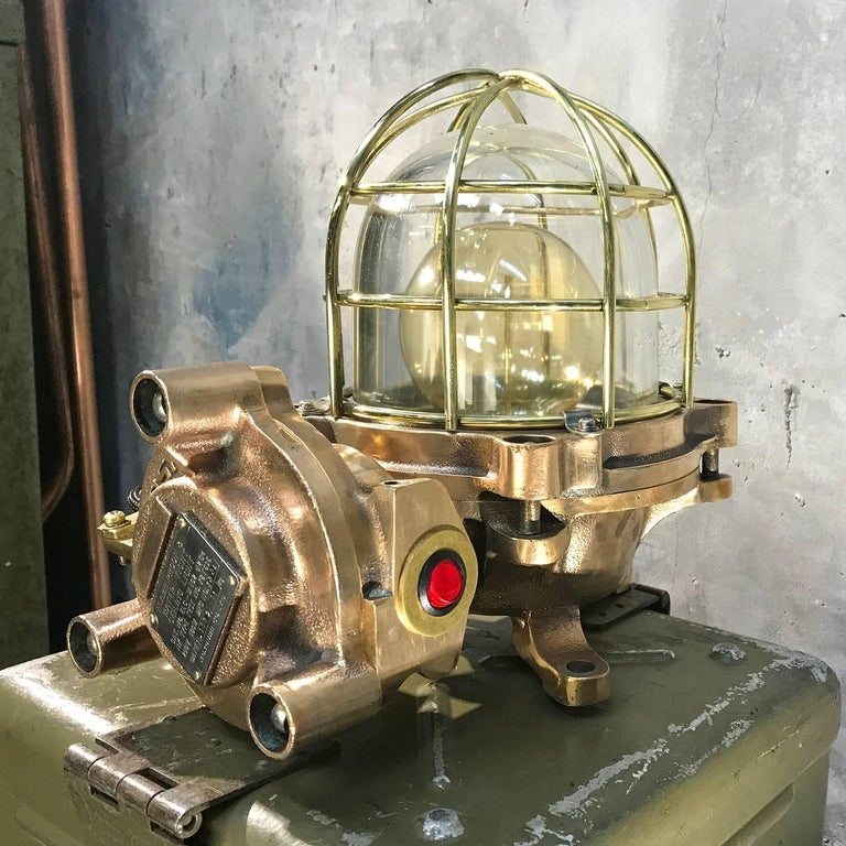Late 20th Century Late Century Japanese Cast Bronze Industrial Flameproof Table Lamp, Brass Cage For Sale