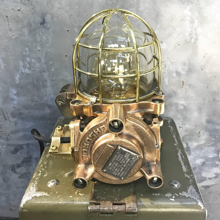 Late Century Japanese Cast Bronze Industrial Flameproof Table Lamp, Brass Cage In Excellent Condition For Sale In Leicester, GB