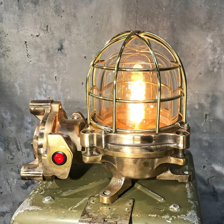 Late Century Japanese Cast Bronze Industrial Flameproof Table Lamp, Brass Cage For Sale 2