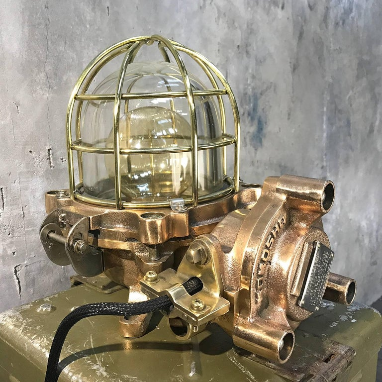 Late Century Japanese Cast Bronze Industrial Flameproof Table Lamp, Brass Cage For Sale 1