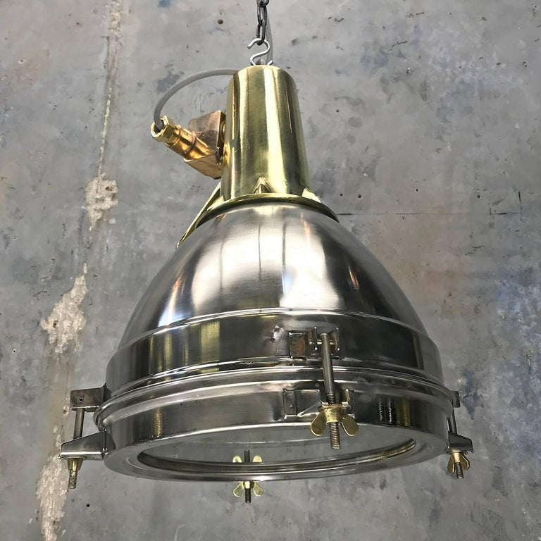 Industrial 1970s Japanese Large Stainless Steel, Cast Brass and Bronze Search Light Pendant For Sale
